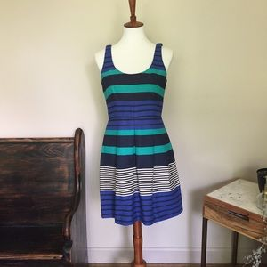 Loft Striped Textured Fit and Flare Dress
